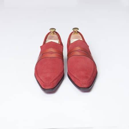 Chaussures Mocassin Estoril – ligne Dandy – Daim Rouge réf. 8364