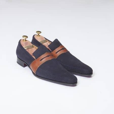 Chaussures Mocassin Estoril – ligne Dandy – Daim Marine réf. 8364
