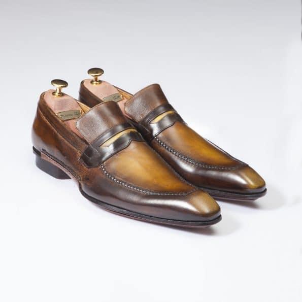 Chaussures Mocassin Porto Vecchio patine tabac/havane – ligne Castelo – réf. 3004