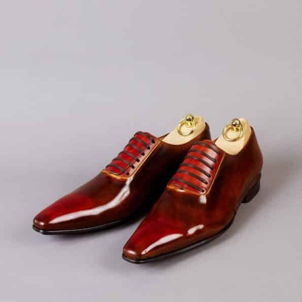 Chaussures Laçage Officier patine Rouge Feu – ligne Castelo – réf. 3022