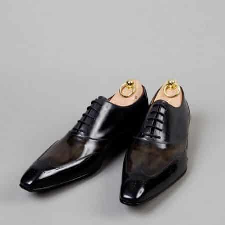 Chaussures Richelieu patine bicolore Noir/Ardoise – ligne Castelo – réf. 3003