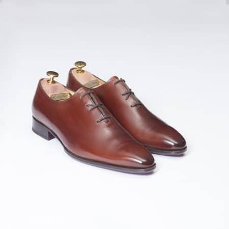 Chaussures One Cut laçage croisé – ligne Dandy – Marron Cognac réf. 11122