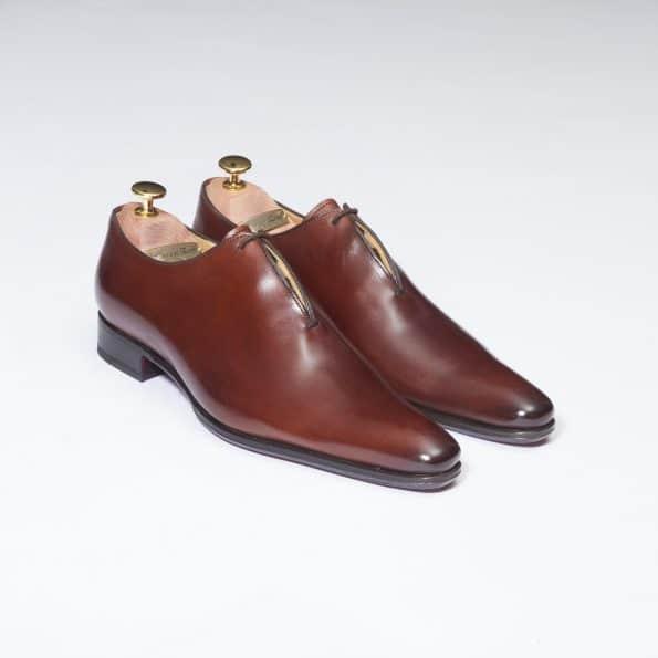Chaussures Richelieu One Cut effilé laçage caché – ligne Dandy – Cognac réf. 8560
