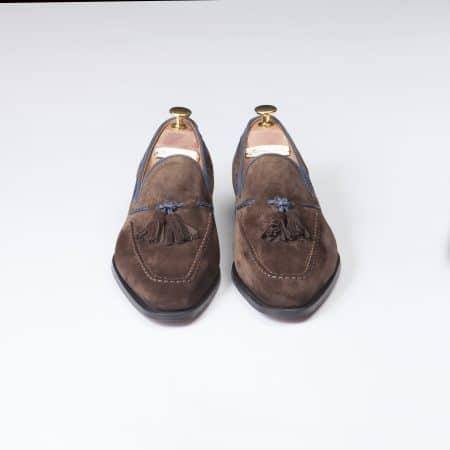 Chaussures Mocassin Palerme – ligne Prestige – velours de Kangourou Marron – réf 4216