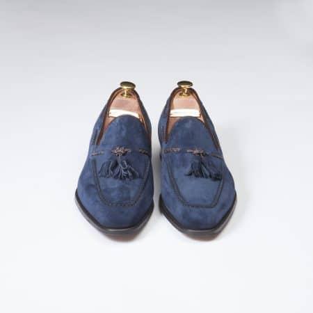Chaussures Mocassin Palerme – ligne Prestige – velours de Kangourou Marine – réf 4216