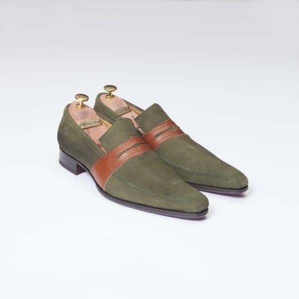 Chaussures Mocassin Estoril – ligne Dandy – Daim Vert réf. 8364