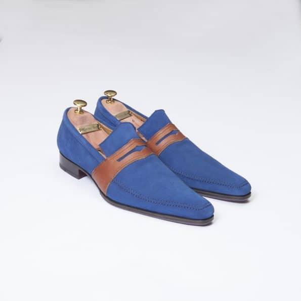 Chaussures Mocassin Estoril – ligne Dandy – Daim Bleu indigo réf. 8364