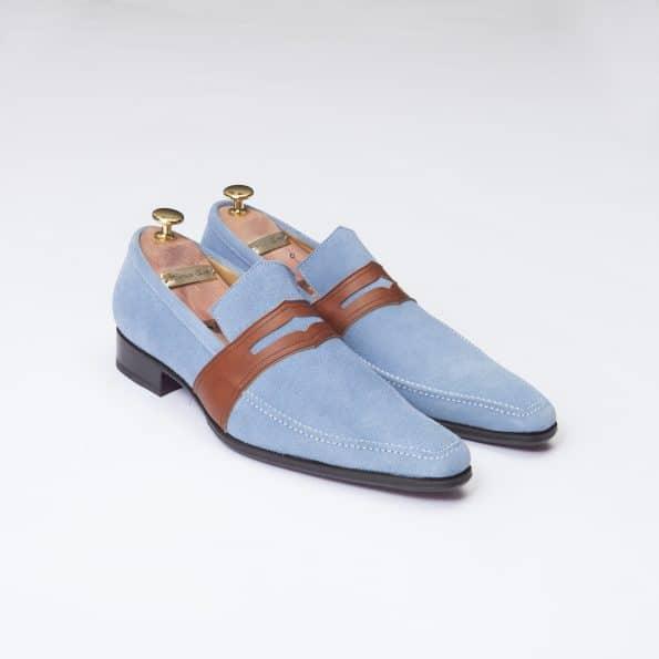 Chaussures Mocassin Estoril – ligne Dandy – Daim Bleu ciel réf. 8364