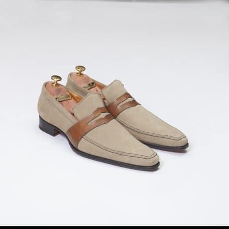Chaussures Mocassin Estoril – ligne Dandy – Daim Beige réf. 8364