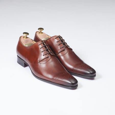 Chaussures Derby Papillon à médaillon – ligne Dandy – Cognac réf. 8566
