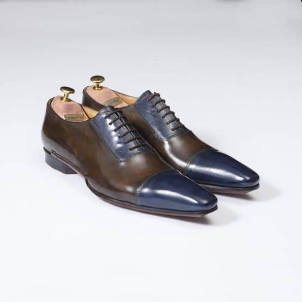 Chaussures Richelieu à Plastron patine bicolore Bleu indigo/marron – ligne Castelo – réf. 3028