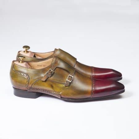 Chaussures Double boucle patine bicolore Bronze/Acajou – ligne Castelo – réf. 3026