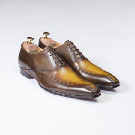 Chaussures Richelieu à surpiqûres patine bicolore marron/havane – ligne Castelo – réf. 3001